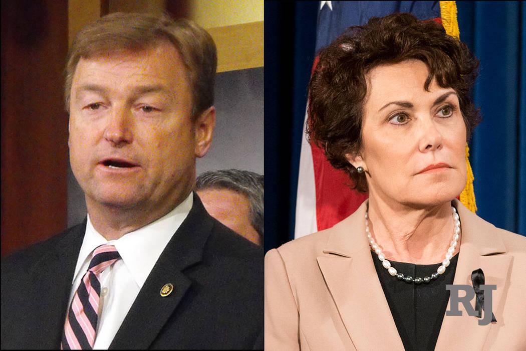 Las Vegas Review-Journal Republican U.S. Sen. Dean Heller and Democratic U.S. Rep. Jacky Rosen.