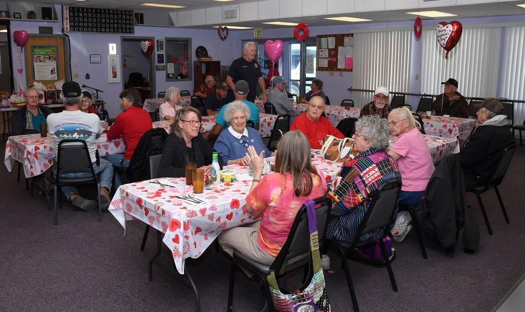 Richard Stephens/Special to the Pahrump Valley Times Beatty seniors are shown earlier this year enjoying a Valentine's Day party, complete with raffles for lots of donated prizes, at the Beatty Se ...