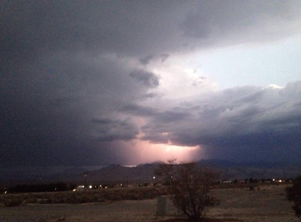 Katy Flarowski/Pahrump Valley Times Pahrump Valley Times reader Katy Flarowski captured a photo of a storm on Saturday from the Dandelion Street and Homestead Road area. Lightning can be seen in t ...