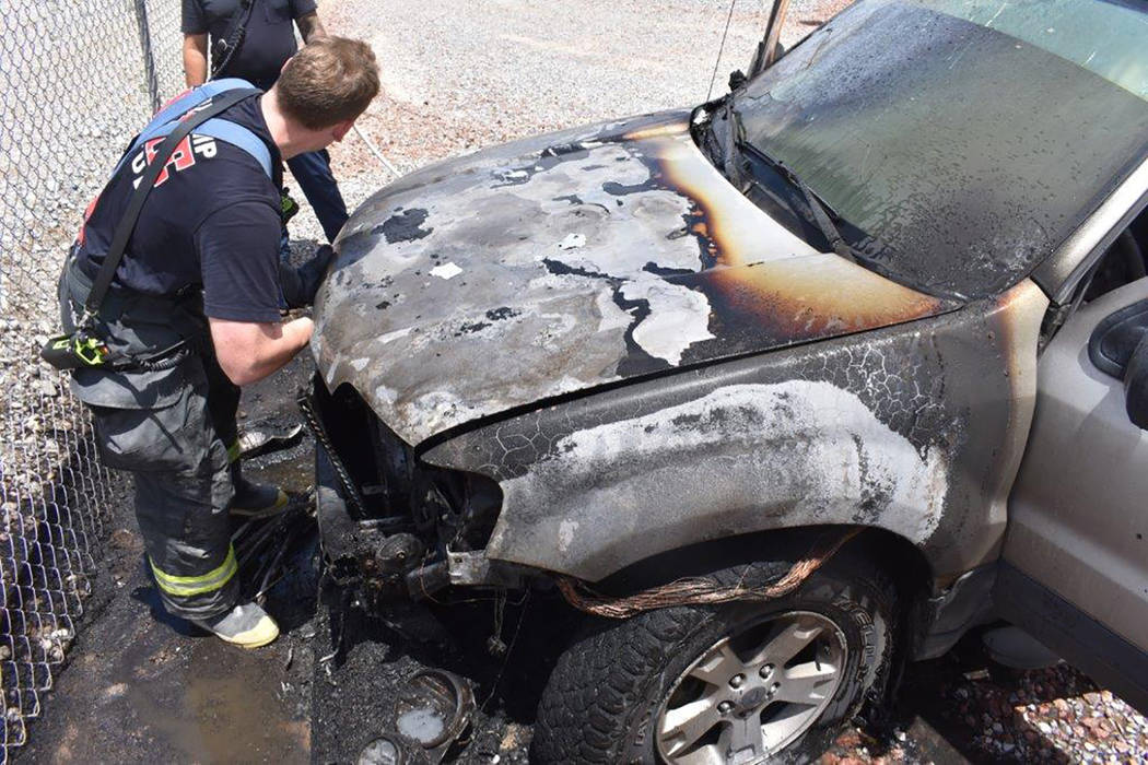 Special to the Pahrump Valley Times A vehicle fire along the 3300 block of West Simkins Street prompted the response of local fire crews, just after 12 p.m. on Saturday July 7. Fire Chief Scott L ...