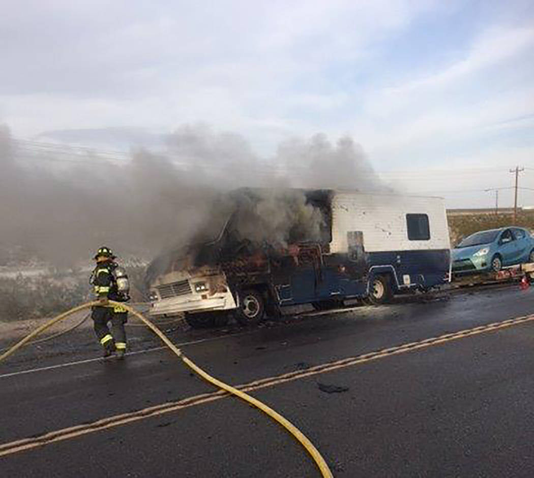Special to the Pahrump Valley Times No injuries were reported following a vehicle fire along South Highway 160 between Gamebird and Cass Roads, just before 7:30 p.m. on Monday July 9. Fire crews m ...