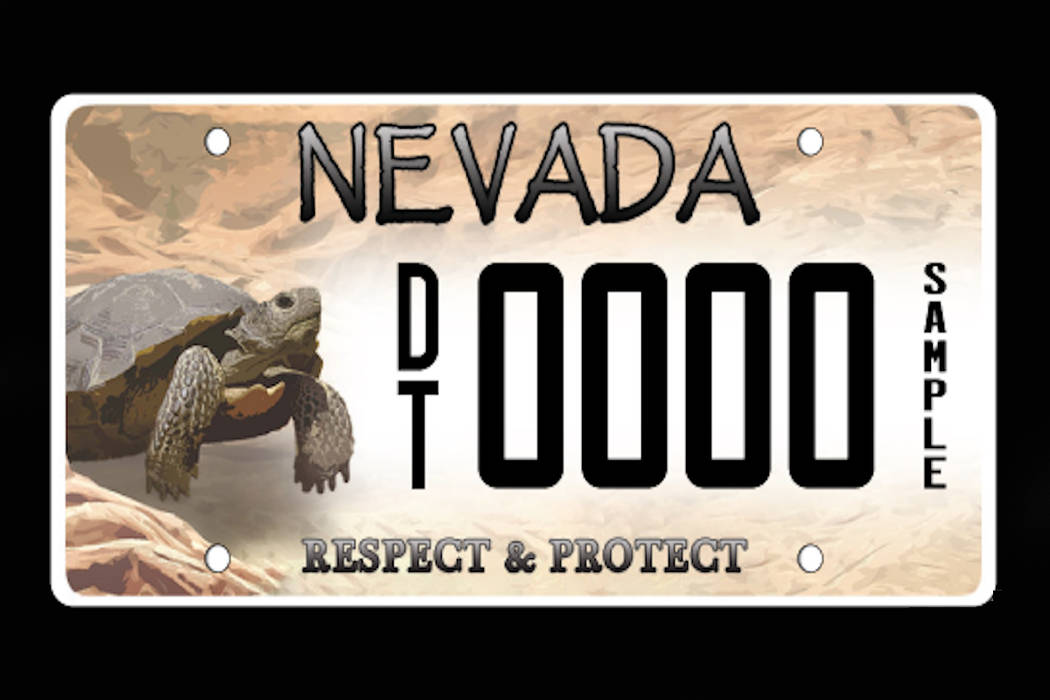Motorists can now purchase a license plate featuring an image of a desert tortoise from Nevada Department of Motor Vehicle offices. Proceeds from the sales will support conservation programs. (Cla ...