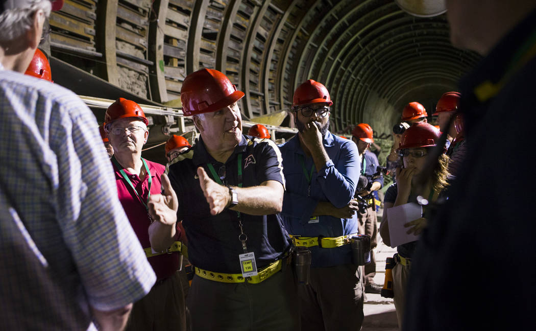 Chase Stevens Las Vegas Review-Journal U.S. Rep. John Shimkus, R-Ill., speaks in the south portal of Yucca Mountain during a congressional tour near Mercury on Saturday, July 14, 2018. Shimkus spe ...