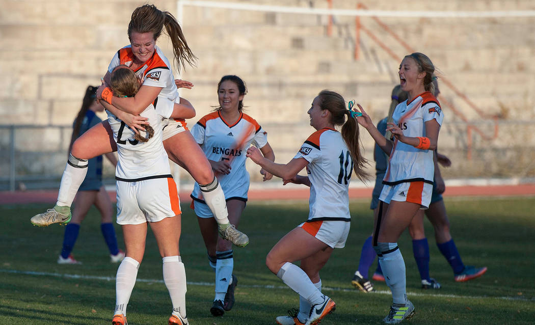 Julie Hillebrant-ISU Athletics/Special to the Pahrump Valley Times An exuberant teammate celebrates with Jennifer McCaw (25) after McCaw's penalty kick in the 87th minute tied Weber State on Idaho ...