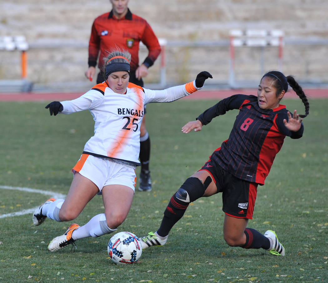 Julie Hillebrant-ISU Athletics/Special to the Pahrump Valley Times Former Idaho State center back Jennifer McCaw, a 2014 Pahrump Valley High School graduate, is ISU's nominee for NCAA Woman of the ...
