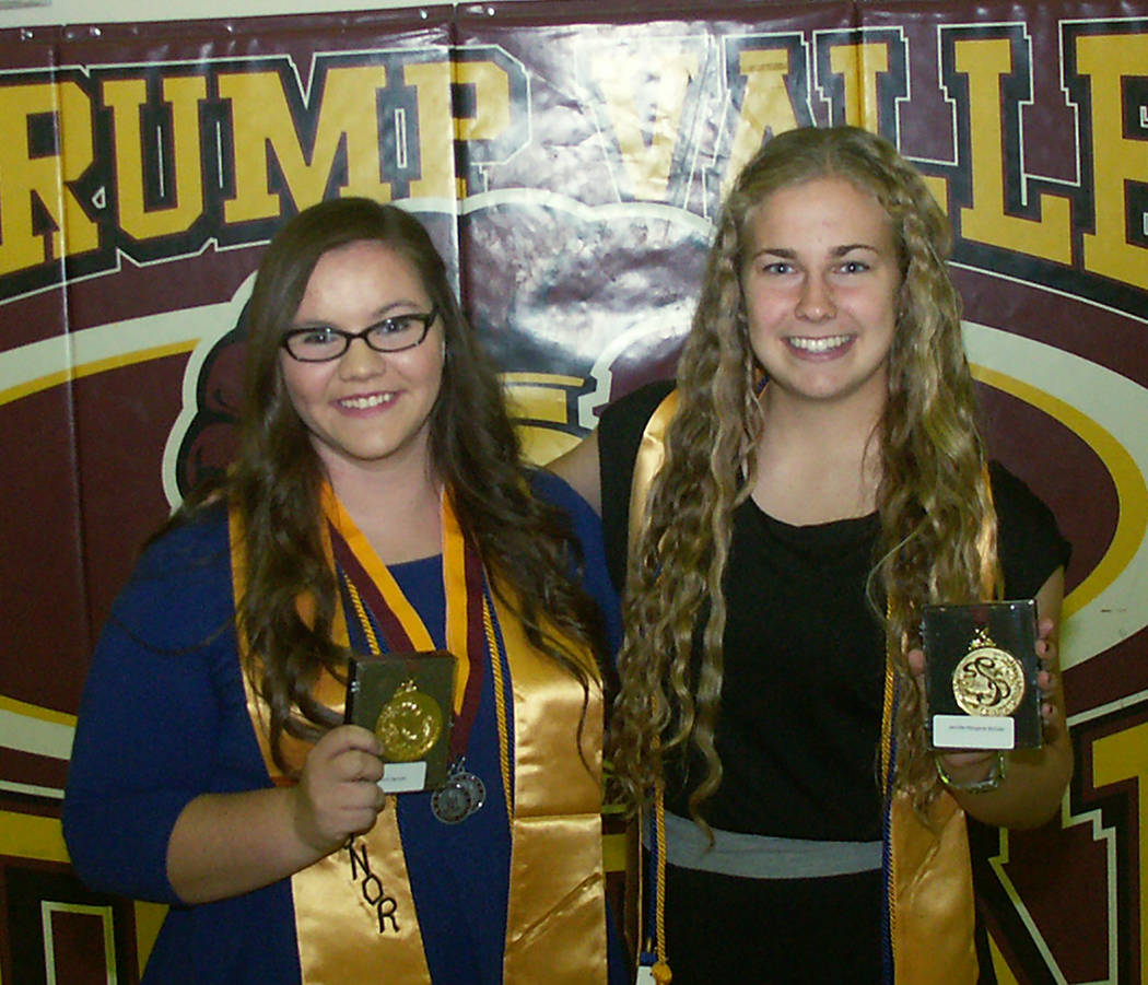 Selwyn Harris/Pahrump Valley Times Jennifer McCaw, right, was Pahrump Valley High School's Class of 2014 salutatorian with a grade-point average of 4.6383. At left is valedictorian Andrea Sposato.