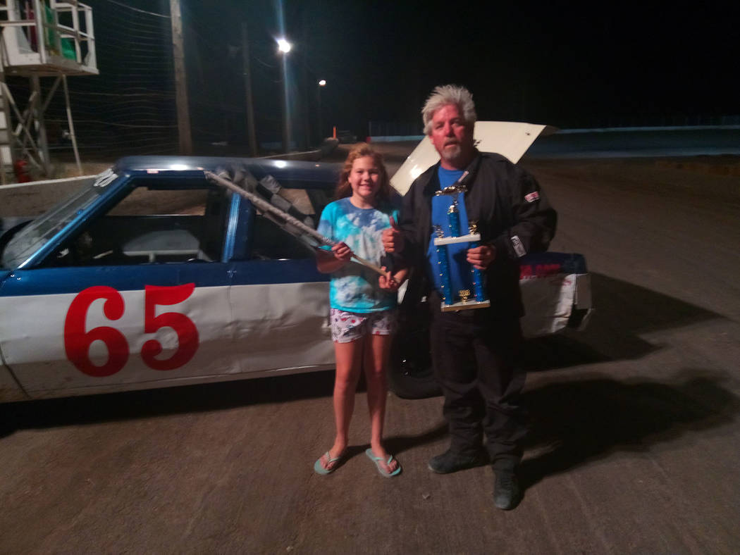 Dale Giessler/Pahrump Valley Times Points leader Gary Wyatt after winning the Bombers race July 7 at Pahrump Valley Speedway.
