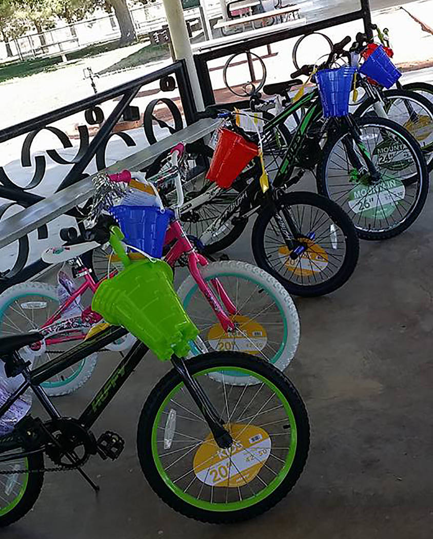Special to the Pahrump Valley Times Shown is a lineup of some of the brand new bicycles that were given away to lucky children during 2017's Smiles Across Pahrump event. Valley youth will have the ...