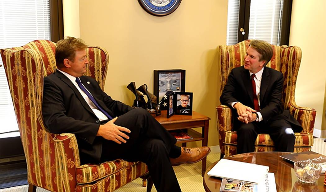 Office of U.S. Sen. Dean Heller U.S. Sen. Dean Heller, R-Nevada, meets with Judge Brett Kavanaugh on July 19. Kavanaugh was nominated by President Donald Trump to the U.S. Supreme Court.