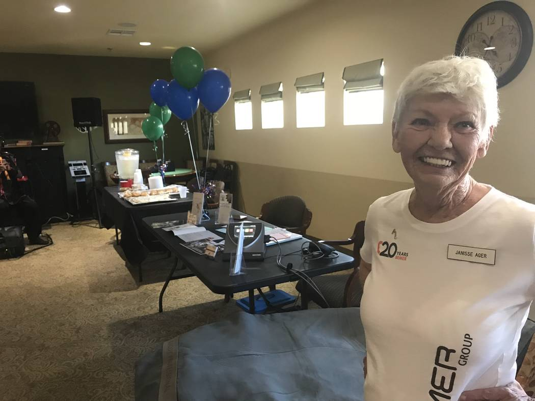 Jeffrey Meehan/Pahrump Valley Times A representative of Pahrump Health, Wellness and Nutrition Center stands at Inspirations Senior Living at 931 E. Honeysuckle St. on July 19, 2018. Pahrump Healt ...