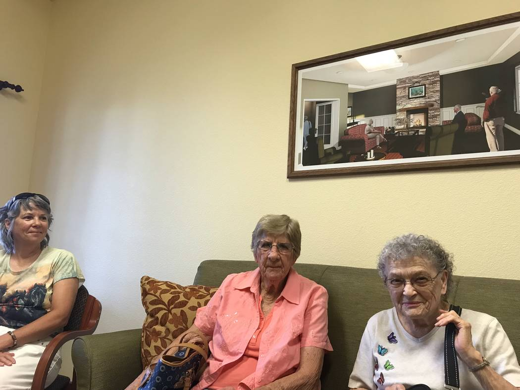 Jeffrey Meehan/Pahrump Valley Times Karen Bateman (left) sits next to her mother Frances (center) at Inspirations Senior Living on July 19, 2018. Frances is set to become a resident of the facilit ...