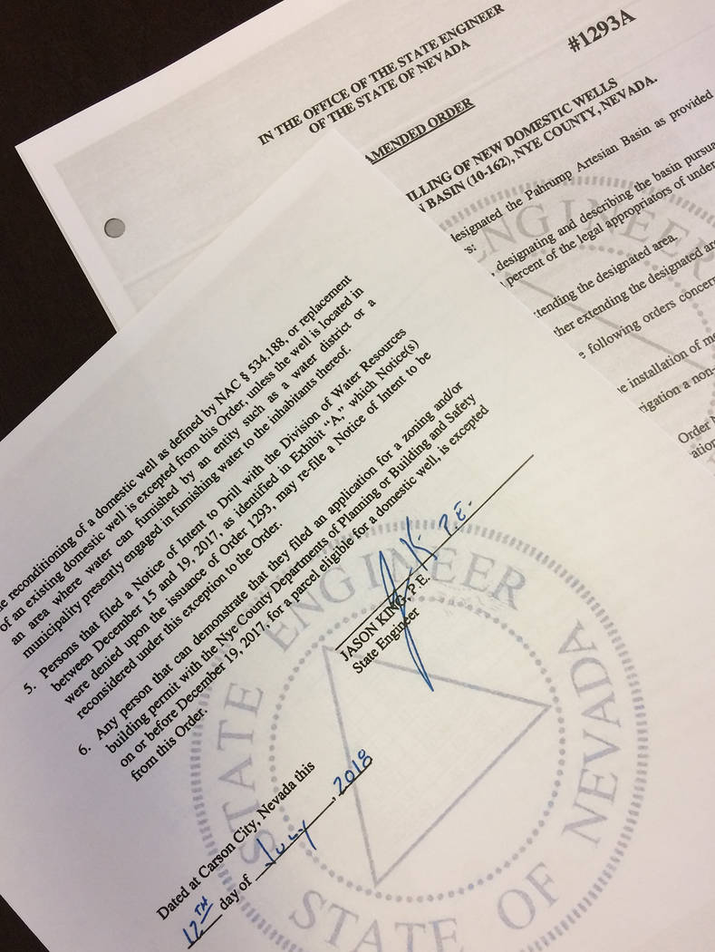 Robin Hebrock/Pahrump Valley Times Order #1293A was signed off earlier this month. The order as originally issued restricts the drilling of new domestic wells in Pahrump. The amended version now a ...