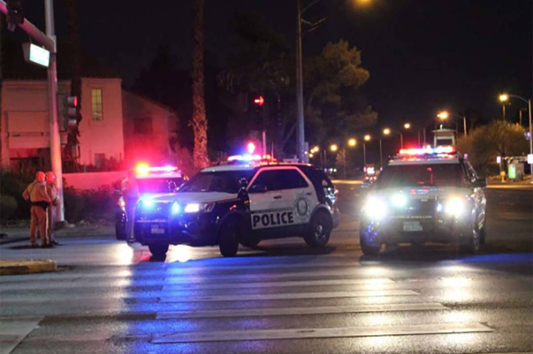 A chase involving the Nevada Highway Patrol and Nye County Sheriff's office ended at the intersection of Rainbow Boulevard and Tropicana Avenue. (Max Michor/Las Vegas Review-Journal)