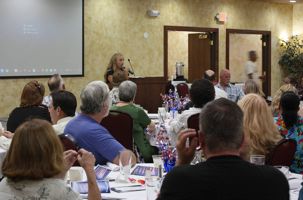 Robin Hebrock/Pahrump Valley Times Cliven Bundy's granddaughter Jamie accompanied him to the IAP-sponsored dinner and also spoke, partially focusing on entreating residents to vote for her father ...