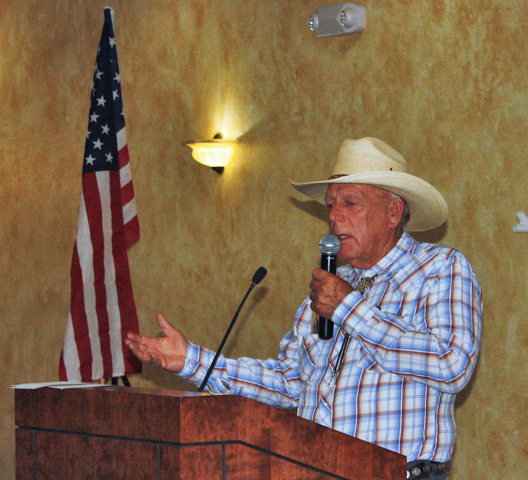 Robin Hebrock/Pahrump Valley Times Cliven Bundy is pictured addressing a large crowd during the IAP-sponsored Constitution Dinner, hosted July 20 in Pahrump.