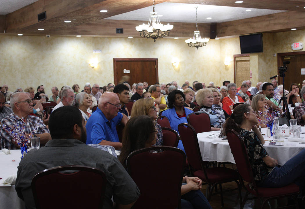 Robin Hebrock/Pahrump Valley Times The Nevada Treasure RV Resort event hall was packed wall to wall with patrons for the dinner hosted by the Independent American Party and featuring guest speaker ...