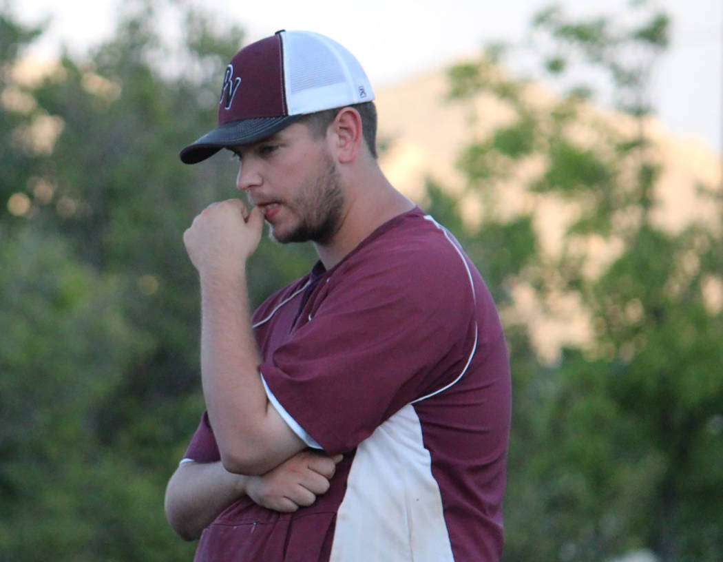 Caroline Thacker/Special to the Pahrump Valley Times A pensive manager Drew Middleton before the start of the P-Town Little League Junior All-Stars opening game against Boulder City in the state t ...