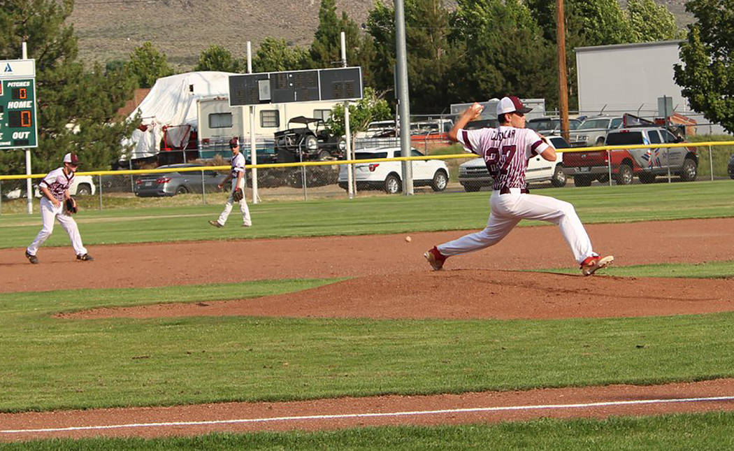 Caroline Thacker/Special to the Pahrump Valley Times Zack Cuellar warms up before the P-Town Little League Junior All-Stars' game against Boulder City in the state tournament in Carson City.