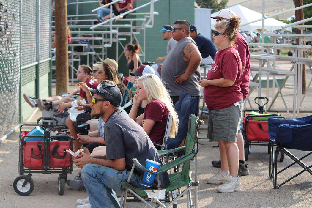 Caroline Thacker/Special to the Pahrump Valley Times Supporters of the P-Town Little League Junior All-Stars look on during the state tournament in Carson City. Manager Drew Middleton said every p ...
