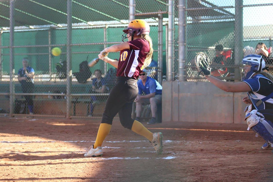Cassondra Lauver/Special to the Pahrump Valley Times Ally Rily smacks a double off the wall for Pretty Vicious during a fall 2017 softball game against a team from Washington.
