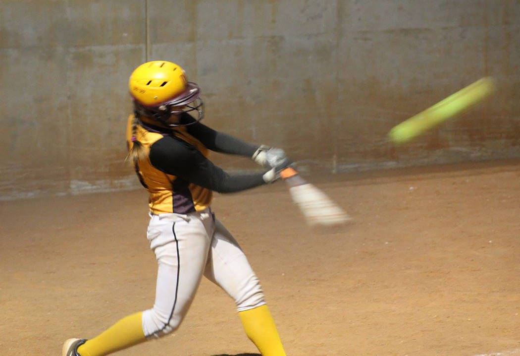 Cassondra Lauver/Special to the Pahrump Valley Times Deeanna Egan blasts a memorable 260-foot home run against a U16 team in 2016, when she was still eligible to play U12 softball.