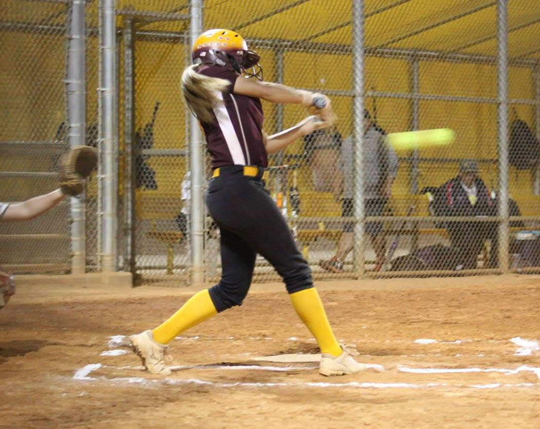 Cassondra Lauver/Special to the Pahrump Valley Times Skyler Lauver rips a double against Las Vegas Mojo during the 2017 Winter Classic softball semifinals in Las Vegas.