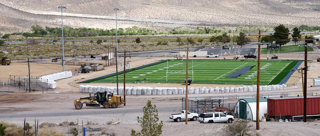 Richard Stephens/Pahrump Valley Times A look at the new artificial surface at the Beatty High School football field before the completion of the adjacent baseball field.