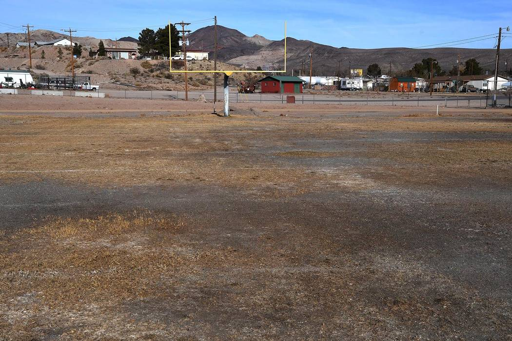 Richard Stephens/Pahrump Valley Times The north end of the former football field at Beatty High School shows why athletic director Leo Verzilli said a new field was a necessity.
