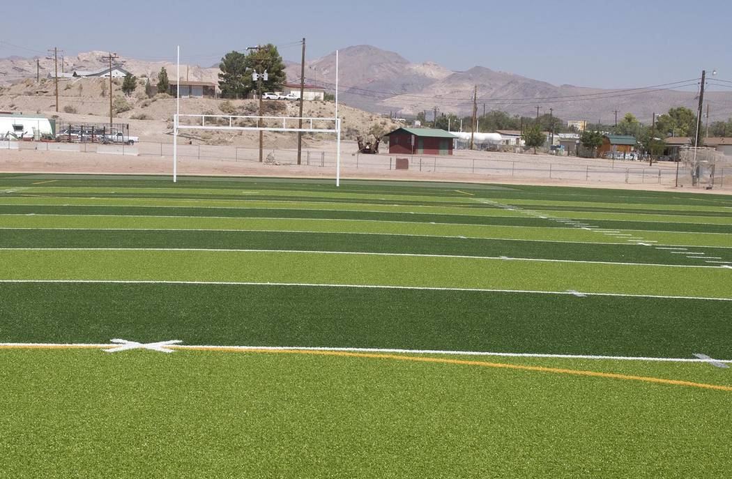 Richard Stephens/Pahrump Valley Times The north end of the Beatty High School football field after the artificial surface was installed.