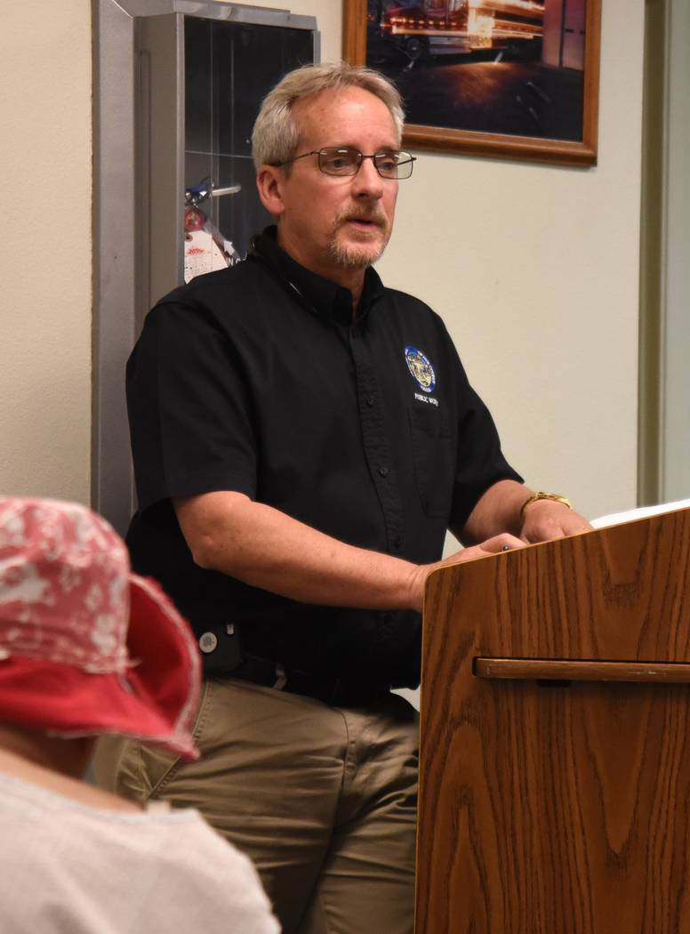 Richard Stephens / Special to the Pahrump Valley Times Nye County Public Works Director Tim Dahl talked about plans for road repairs and improvements in Beatty. Dahl described some of the types of ...