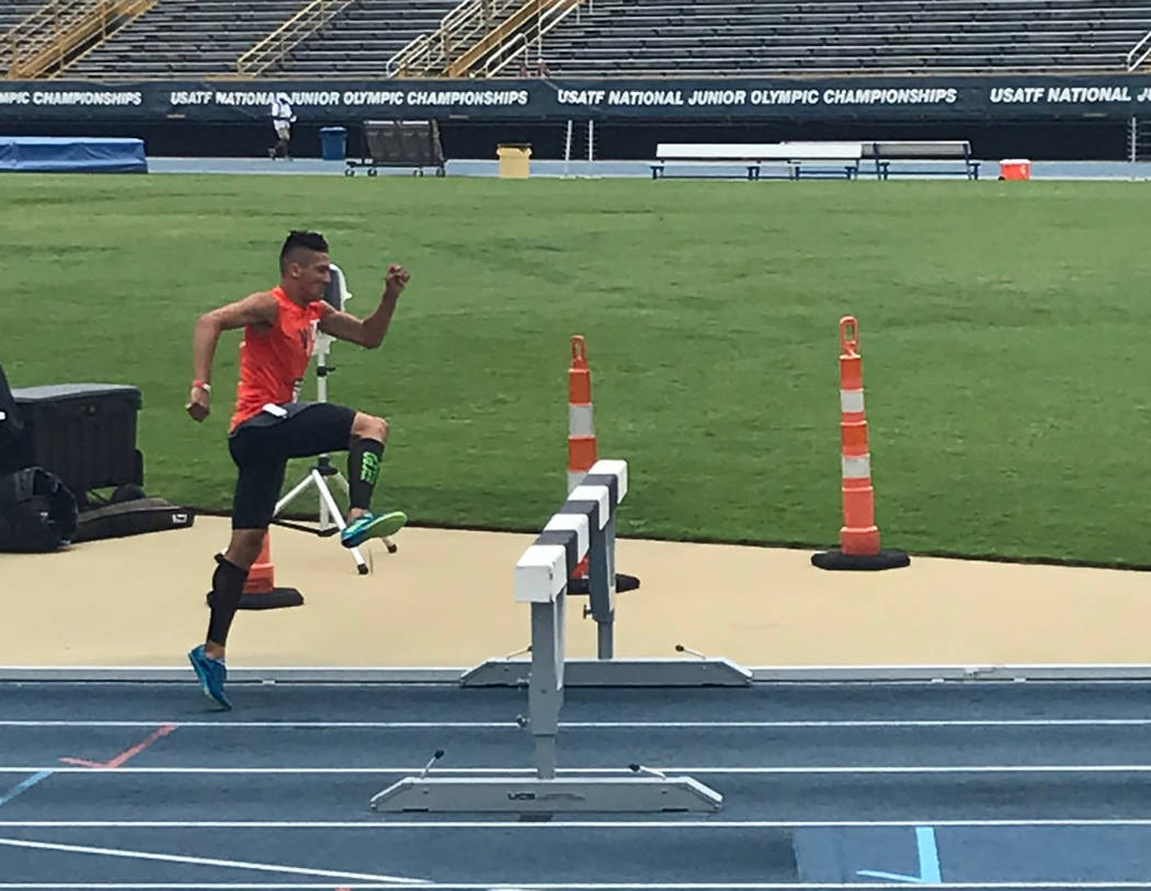 Amanda Granados/Special to the Pahrump Valley Times Beatty High School junior-to-be Jose Granados competes in the 2K steeplechase at the National Junior Olympic Championships. Although it's not hi ...