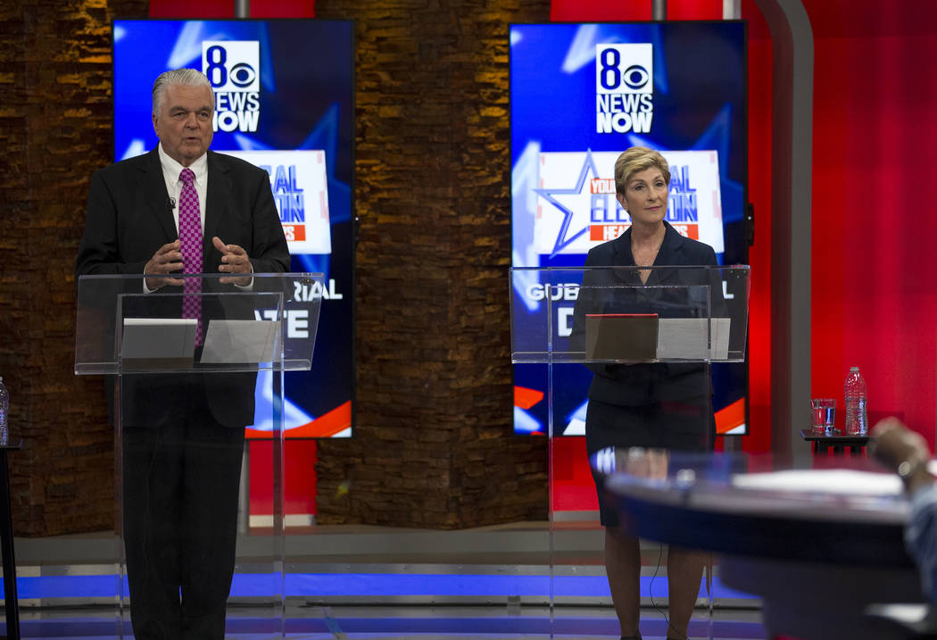 Richard Brian/Las Vegas Review-Journal Democratic Gubernatorial candidates Steve Sisolak, left, and Chris Giunchigliani take part in s live debate on KLAS-TV channel 8 in Las Vegas on Monday, May ...