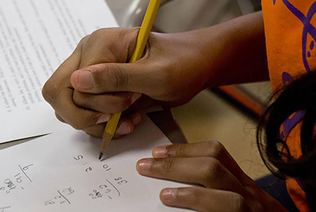 A student takes a written exam. (Las Vegas Review-Journal)