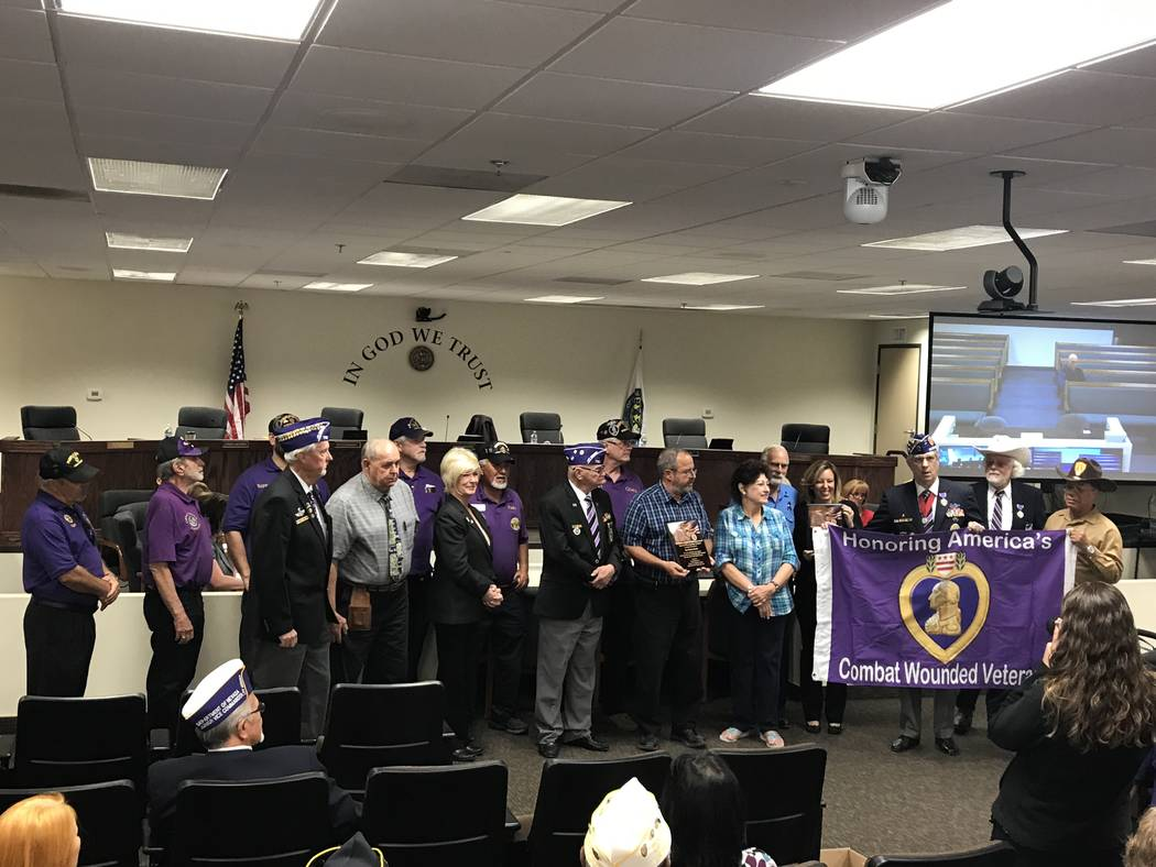 Special to the Pahrump Valley Times Nye County became Nevada's first Purple Heart County in recognition of its Purple Heart Medal recipients on Oct. 17, 2017.