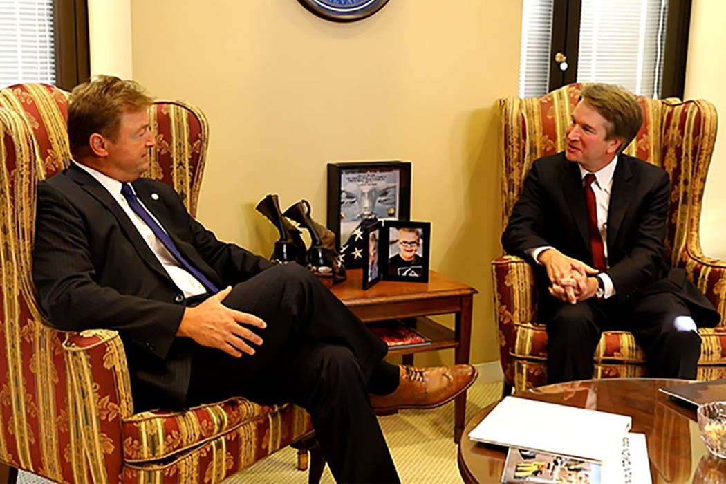 Office of U.S. Sen. Dean Heller U.S. Sen. Dean Heller, R-Nevada, meets with Judge Brett Kavanaugh on July 19. Kavanaugh was nominated by President Donald Trump to the U.S. Supreme Court.