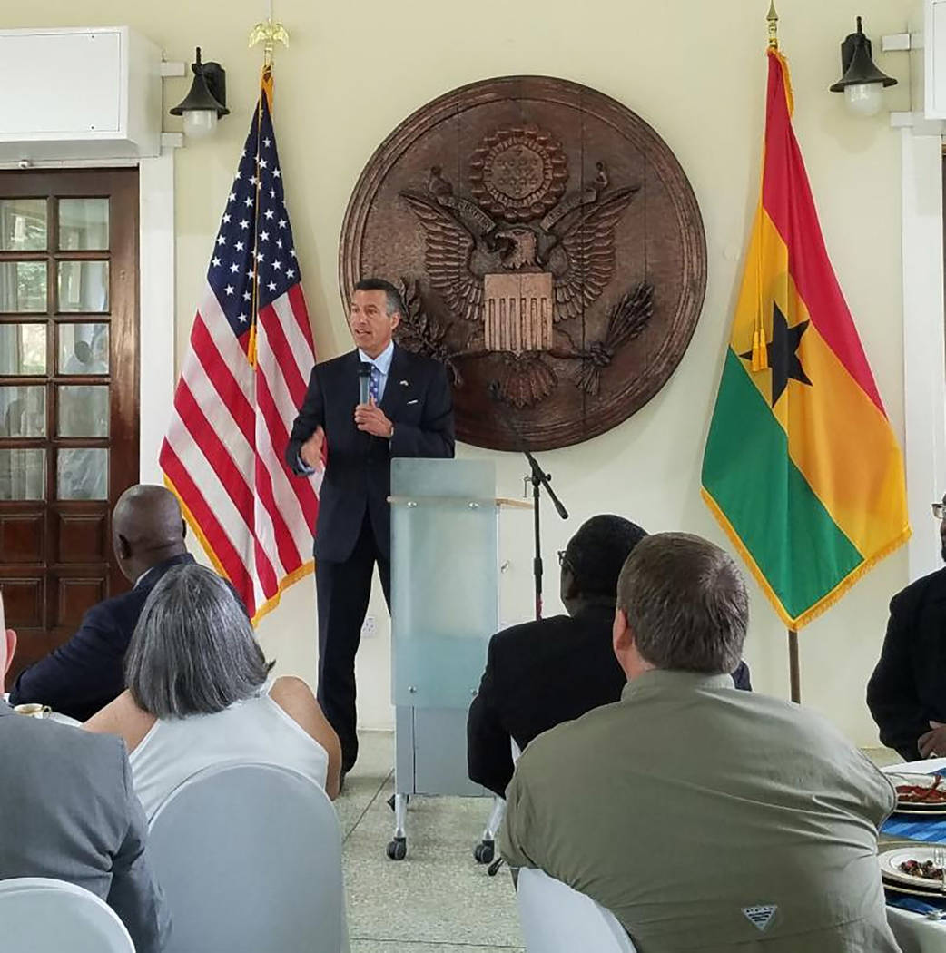 Nevada Governor's Office for Economic Development Nevada Gov. Brian Sandoval is shown speaking in Africa on July 26. The friendship between Ghana and Nevada is a special one, Sandoval said.