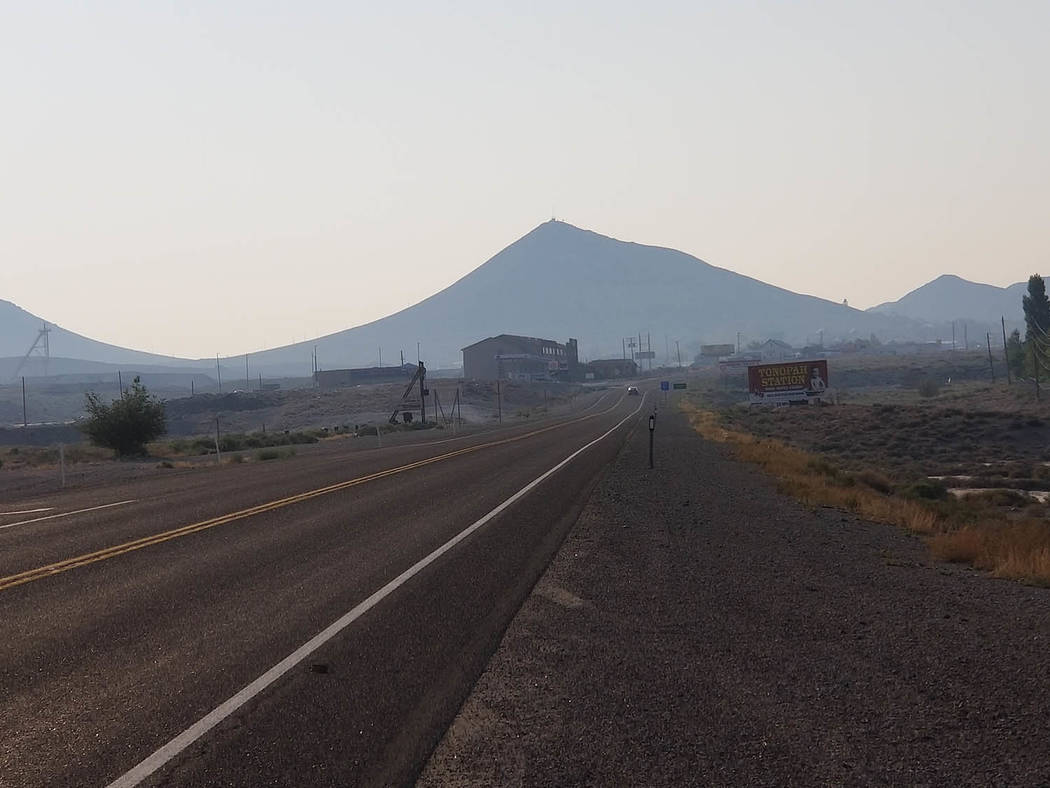 Nancy Whipperman//Pahrump Valley Times The mountains and foothills in and around the Town of Tonopah are faintly visible due to smoke from the wildfires still raging in California.