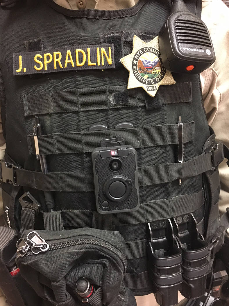 Special to the Pahrump Valley Times Provided by the Nye County Sheriff's Office, this photo shows a body camera attached to the front of an NCSO officer's uniform.