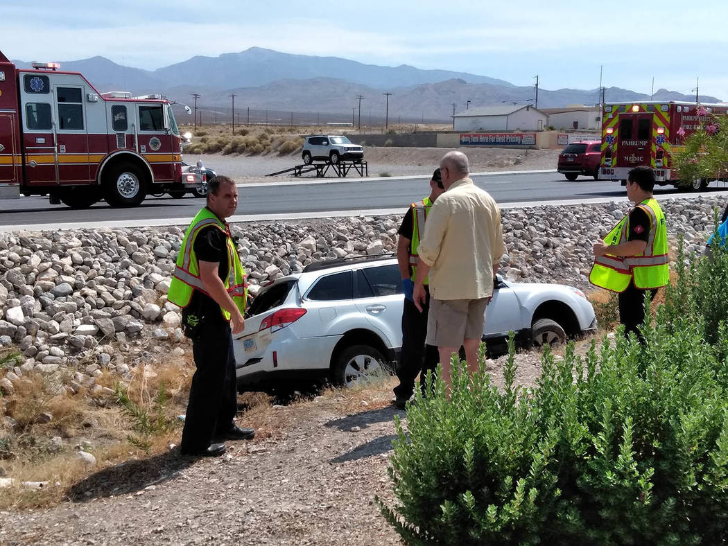 Selwyn Harris/Pahrump Valley Times No injuries were reported after emergency crews responded to a two-vehicle crash along Highway 160 and Wilson Road just before 11 a.m. on Tuesday August 8. One v ...
