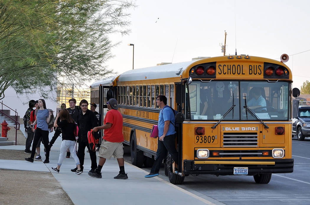 Horace Langford Jr./Pahrump Valley Times Students and parents are readying for the start of the 2018-2019 school bus. Instruction starts on Aug. 13 for first through 12th graders.