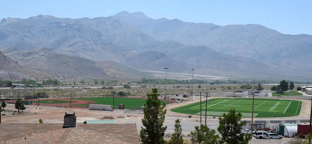 Richard Stephens/Pahrump Valley Times Beatty High School will play on a new baseball field, left, and a new football field in the 2018-2019 school year.