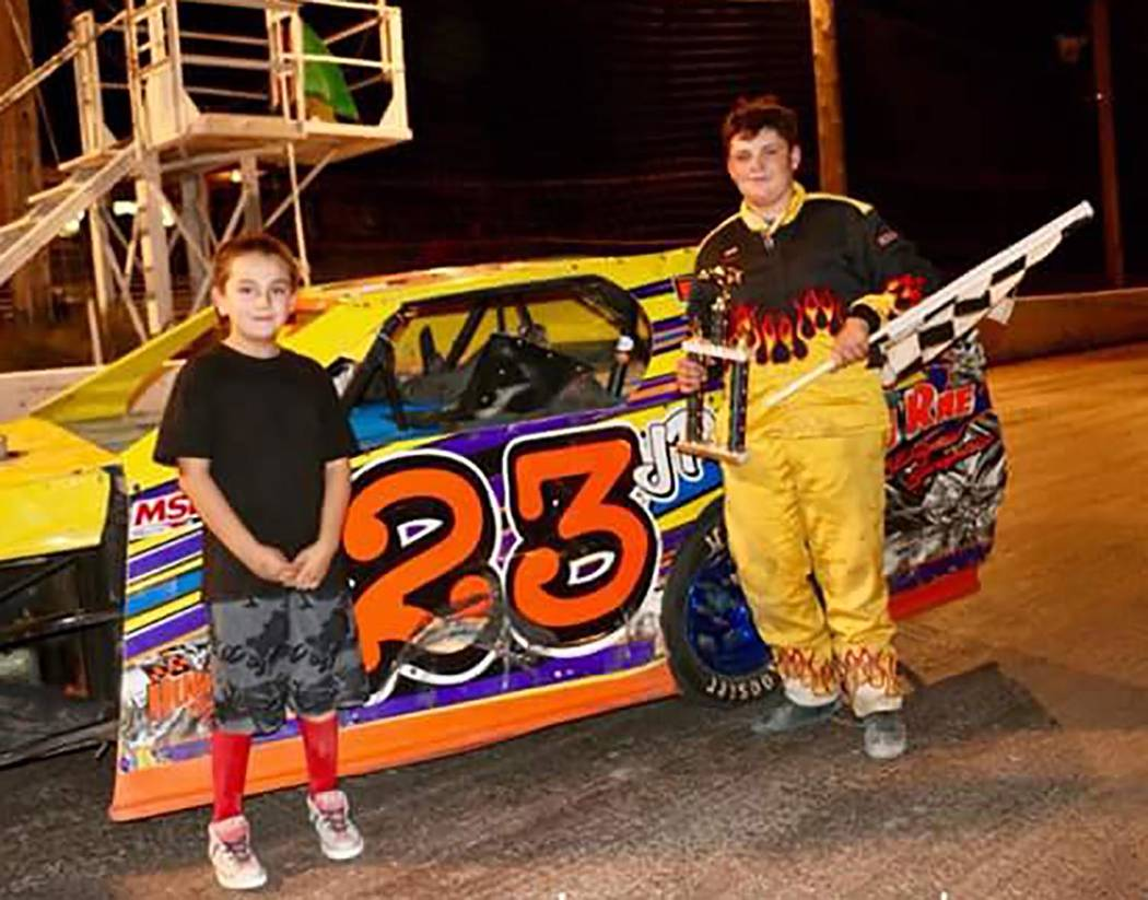 Rob Street Racing Photography/Special to the Pahrump Valley Times Jake Pike, right, won his first Modifieds division race Saturday night at Pahrump Valley Speedway.
