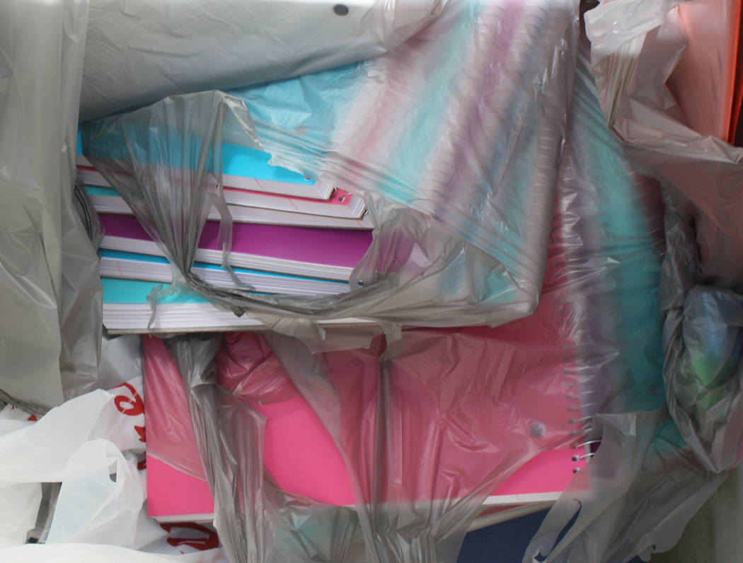 Robin Hebrock/Pahrump Valley Times Everything from binders, paper and glue to folders, spiral notebooks and more, was donated and will benefit students throughout the VEA service territory.