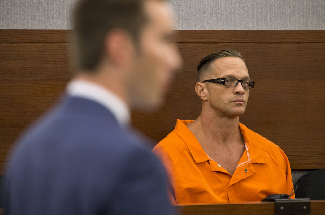 Death row inmate Scott Dozier appears before District Judge Jennifer Togliatti during a hearing at the Regional Justice Center on Sept. 11, 2017, in downtown Las Vegas. (Richard Brian/Las Vegas Re ...