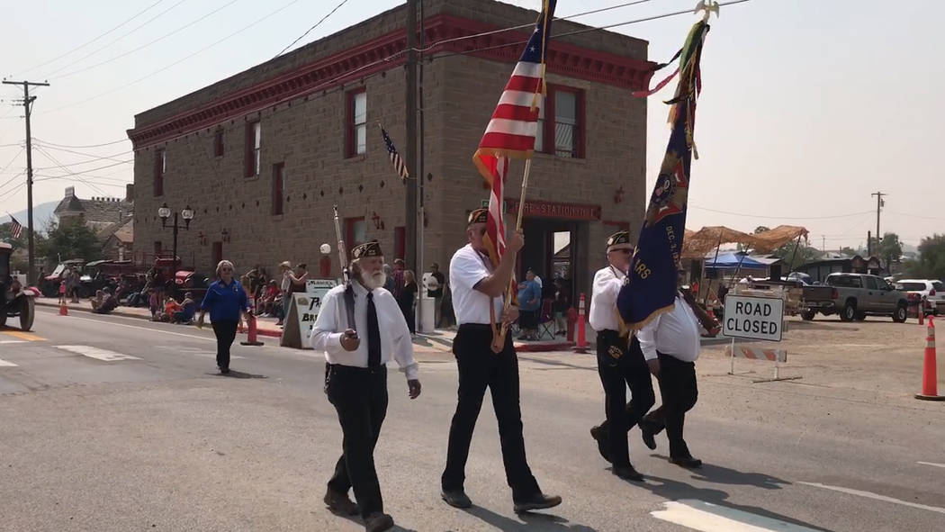 Jeffrey Meehan/Pahrump Valley Times The 18th annual Goldfield Days event in Goldfield held several events including a parade. The Aug. 4, 2018 parade started off with members of the Tonopah Vetera ...