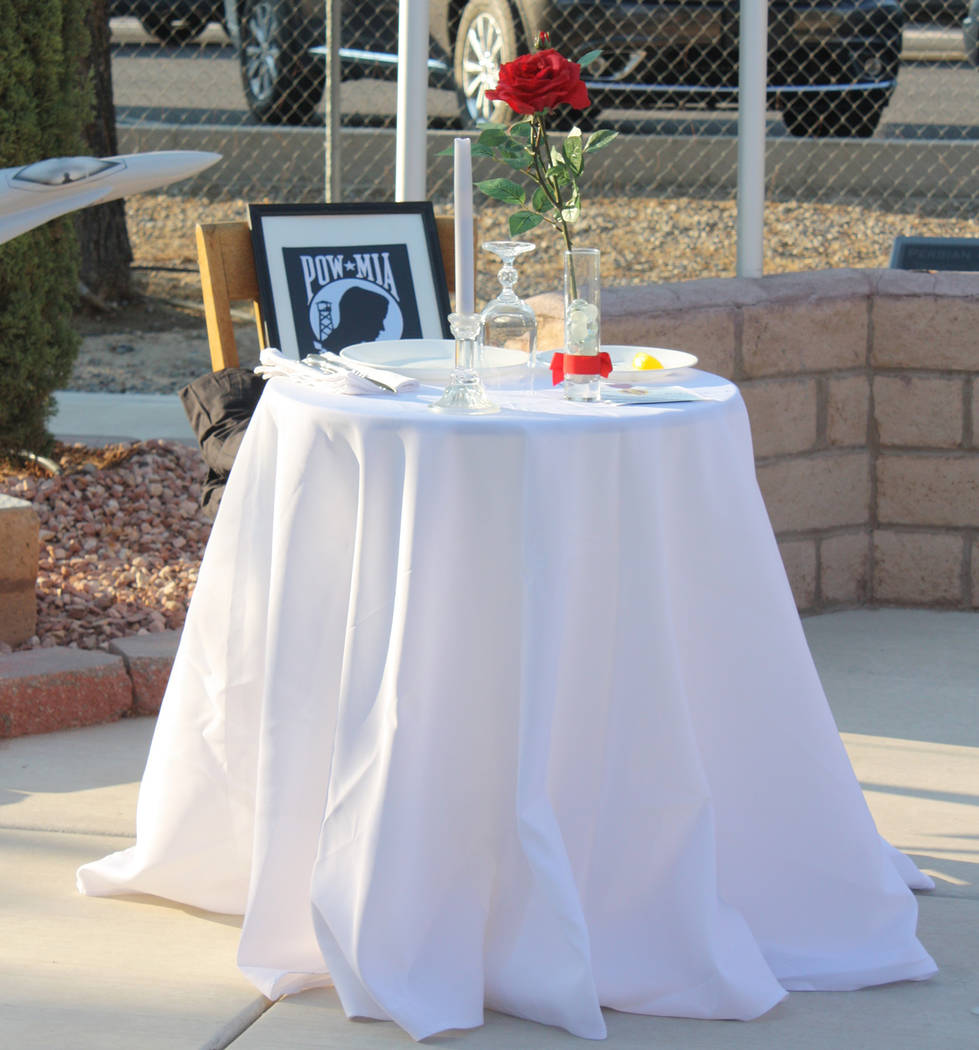 Robin Hebrock/Pahrump Valley Times A table laid for one was filled with symbolic importance, honoring all prisoners of war and those missing in action.