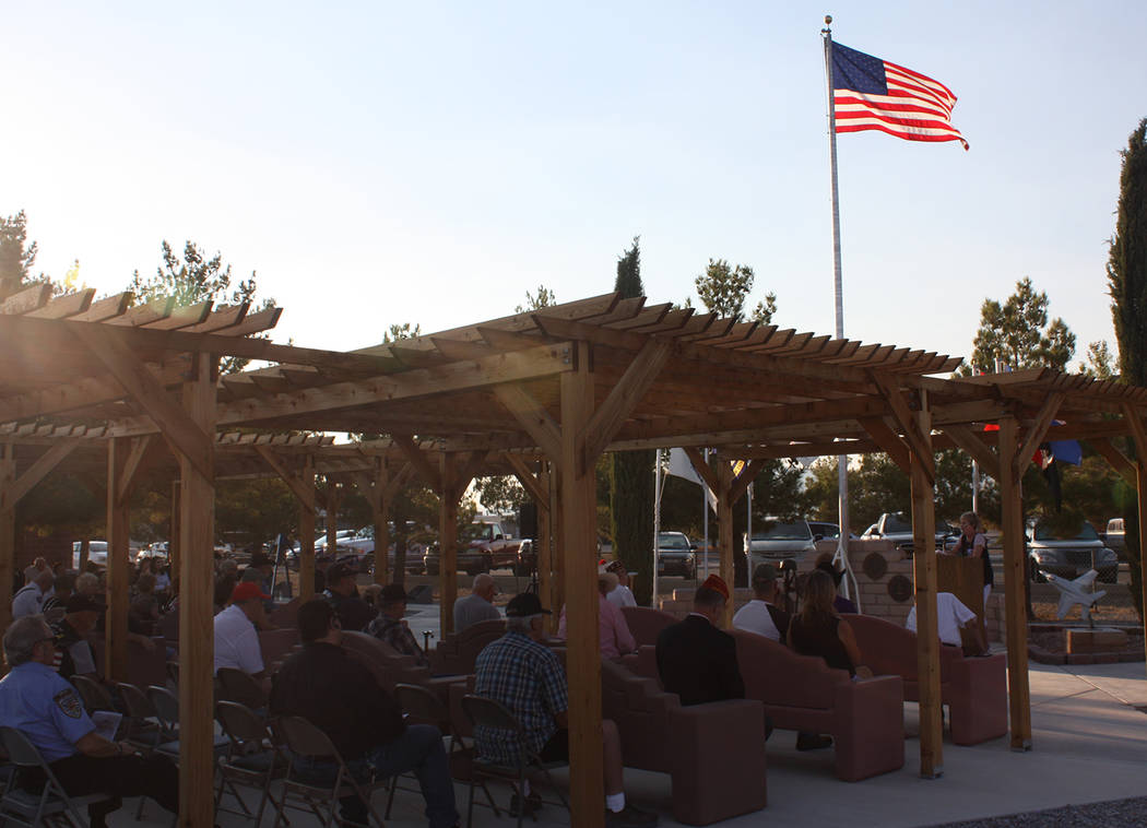 Robin Hebrock/Pahrump Valley Times The sun was just beginning its descent in the sky as the Purple Heart Day ceremony drew to a close on August 7.