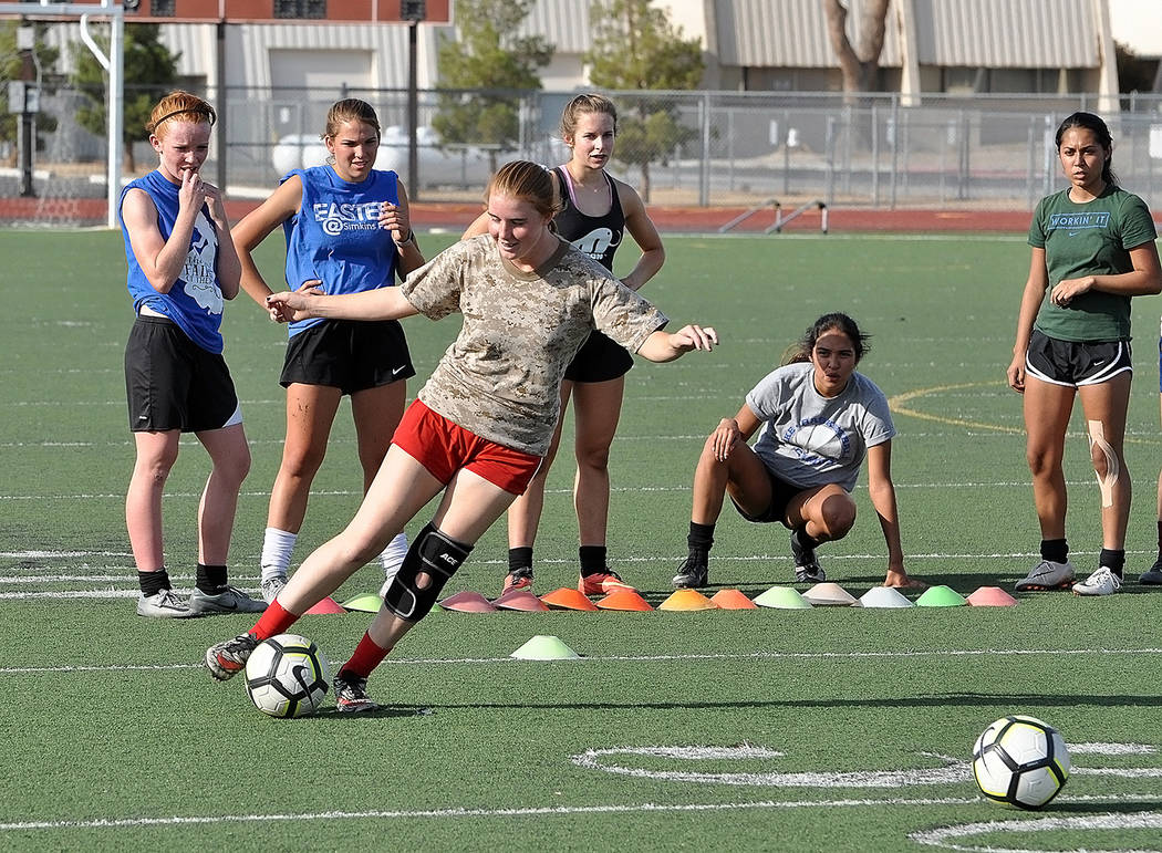 Horace Langford Jr./Pahrump Valley Times Sophomore Raelean Sutton performs a drill during girls soccer practice Monday at Pahrump Valley High School.
