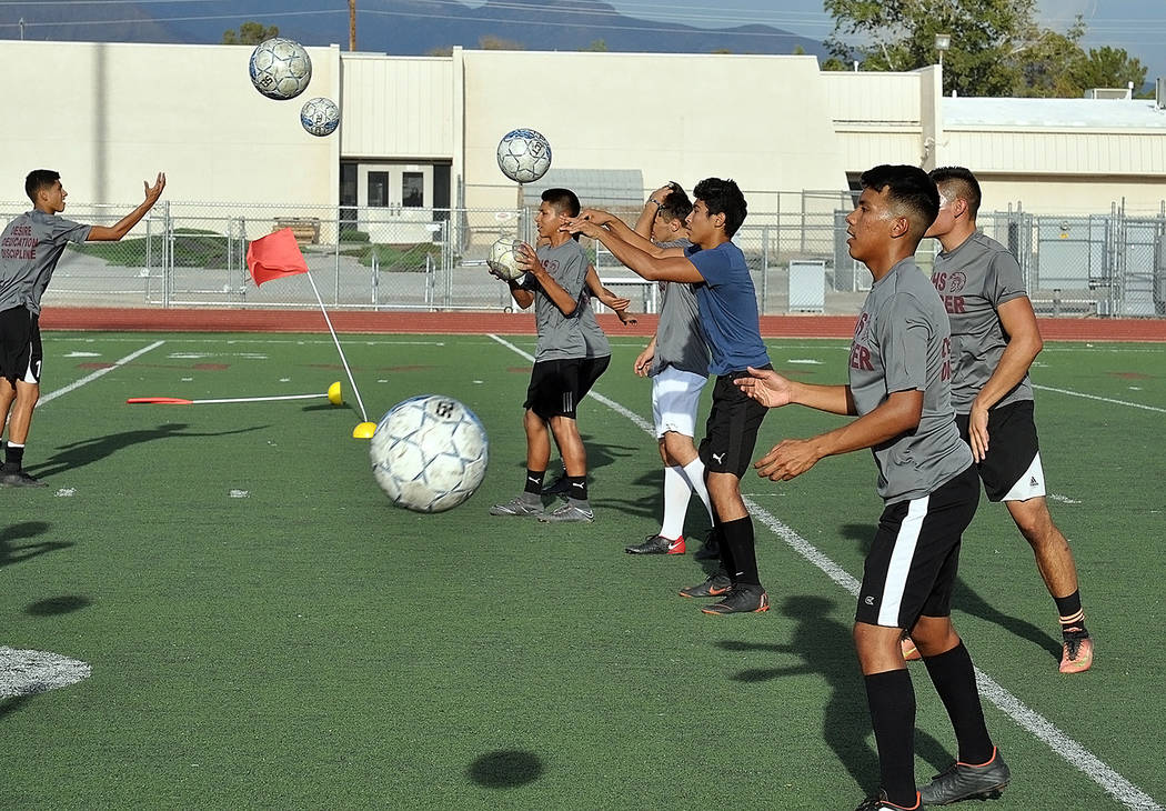Horace Langford Jr./Pahrump Valley Times Soccer players participate in drills during a practice Aug. 20 at Pahrump Valley High School.