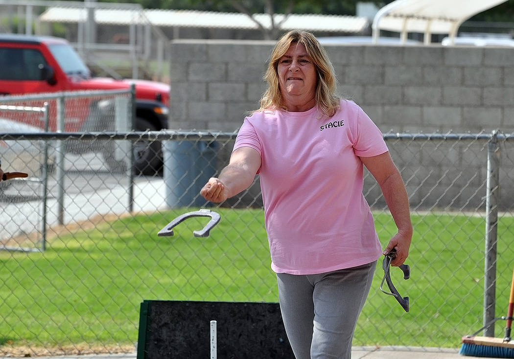 Horace Langford Jr./Pahrump Valley Times Stacie Nicosia won the Class C title at the Shade Tree Open horseshoes tournament, edging husband Mike on a tiebreaker.